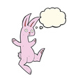 funny cartoon pink rabbit with thought bubble vector image vector image