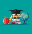 graduation cap on stuck books globe and apple vector image
