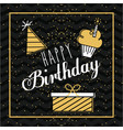 happy birthday card invitation gift cake and hat vector image