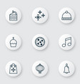 happy icons set with snowflakes cupcake holiday vector image