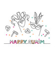 happy purim one line drawing vector image vector image
