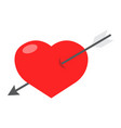 heart pierced with arrow flat icon valentines day vector image