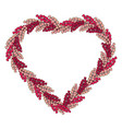 heart wreath is made of romantic pink herbs vector image vector image