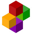 icon of multicolor isometric cubes cube stack logo vector image