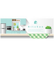 interior design with table top and modern kitchen vector image vector image