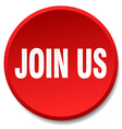 join us red round flat isolated push button vector image vector image