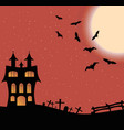 Landscape with a halloween castle and big moon