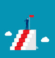 leader successful man on top stairs vector image