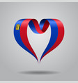 liechtenstein flag heart-shaped ribbon vector image vector image