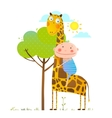 Little boy hugging a giraffe childish friendship vector image
