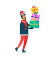man holding christmas present boxes piles of gifts vector image vector image
