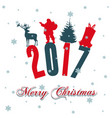 merry christmas santa claus riding a christmas vector image