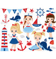nautical cute little girls vector image vector image