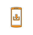 orange smartphone with download icon isolated on vector image vector image
