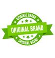 original brand ribbon original brand round green vector image vector image