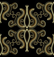 ornate floral gold 3d seamless pattern abstract vector image vector image