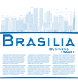 Outline Brasilia Skyline with Blue Buildings vector image vector image