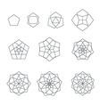 pentagon contour various sacred geometry set vector image