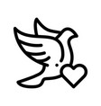 pigeon and heart wedding thin line icon vector image vector image