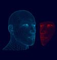 polygonal human head wireframe face men face vector image vector image
