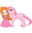 princess and unicorn vector image vector image