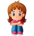 sad girl cartoon sitting alone vector image