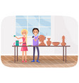 sculptors create clay products people work vector image