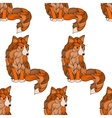 seamless pattern fox dog or wolf waves vector image