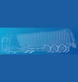 semi-trailer dump truck sketch isolated on blue vector image