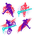 set dirt jumping silhouette colorful grunge vector image vector image