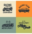 Set of car icons Motor sport car racing vector image vector image