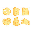 set of cheese icons vector image vector image