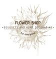 shop emblem over sunflower sketch vector image