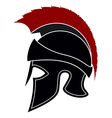 Silhouette Greek Helmet with a Red Crest vector image vector image