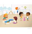 smiling kids doing different tasks at primary vector image vector image