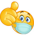 thumb up emoticon with medical mask vector image vector image