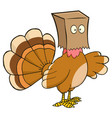 turkey bird character hiding under a bag vector image vector image