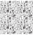Veterinary people and pets seamless black pattern vector image vector image