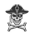vintage skull in pirate hat vector image vector image