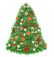 watercolor christmas tree with delicious vector image vector image