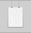 white crumpled paper sheet hanging on isolated vector image vector image