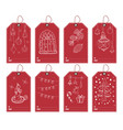 Winter and new year gift tags set hand drawn