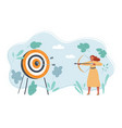 woman with bow and arrow shot on target vector image vector image