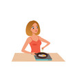 young woman frying eggs in a frying pan girl vector image