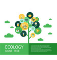 digital red ecology icons vector image