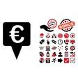 Euro Map Pointer Flat Icon with Bonus vector image
