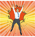 joyful retro man with pop art vector image