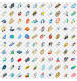 100 call service icons set isometric 3d style vector image vector image