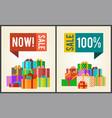 now sale save 100 push buttons promo labels boxes