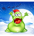 A fat green monster wearing a red Santa hat vector image vector image